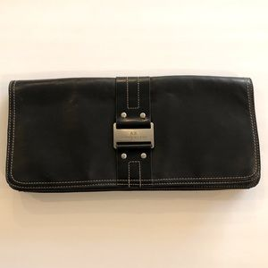 Anne Klein Black Genuine Leather Clutch